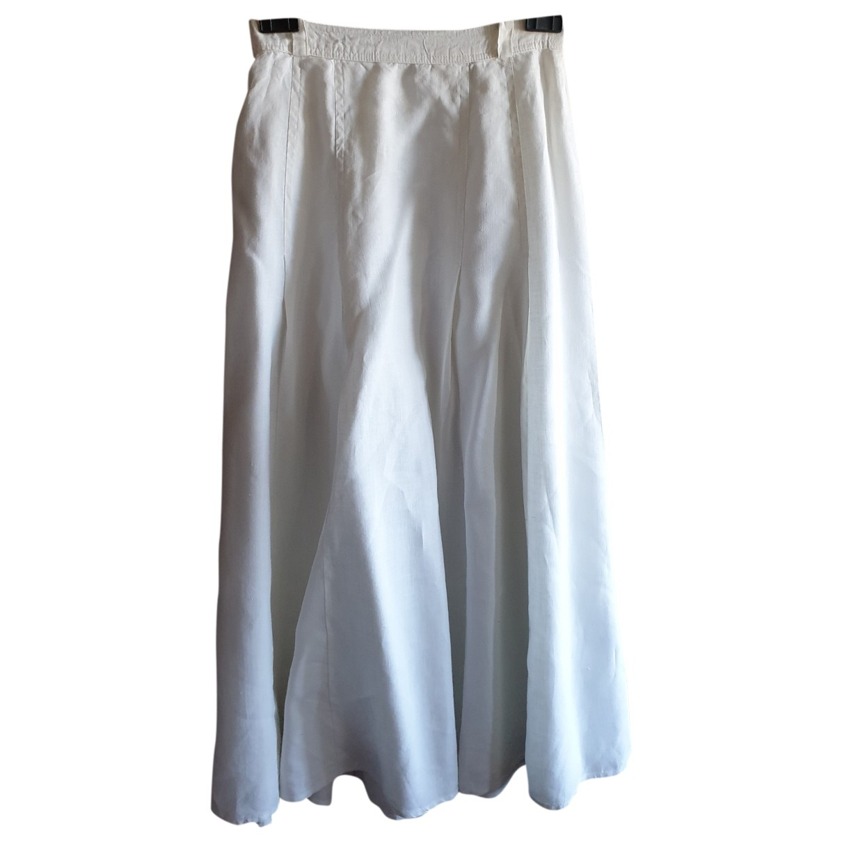 Non Signé / Unsigned Hippie Chic White Linen skirt for Women 42 IT