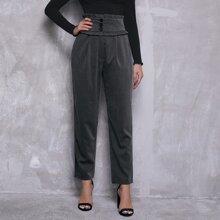 Pantalones de cintura ancha con boton ribete con fruncido