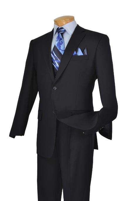 Poly/Rayon Executive Pure Solid Navy Suit Notch Collar Pleated Pants