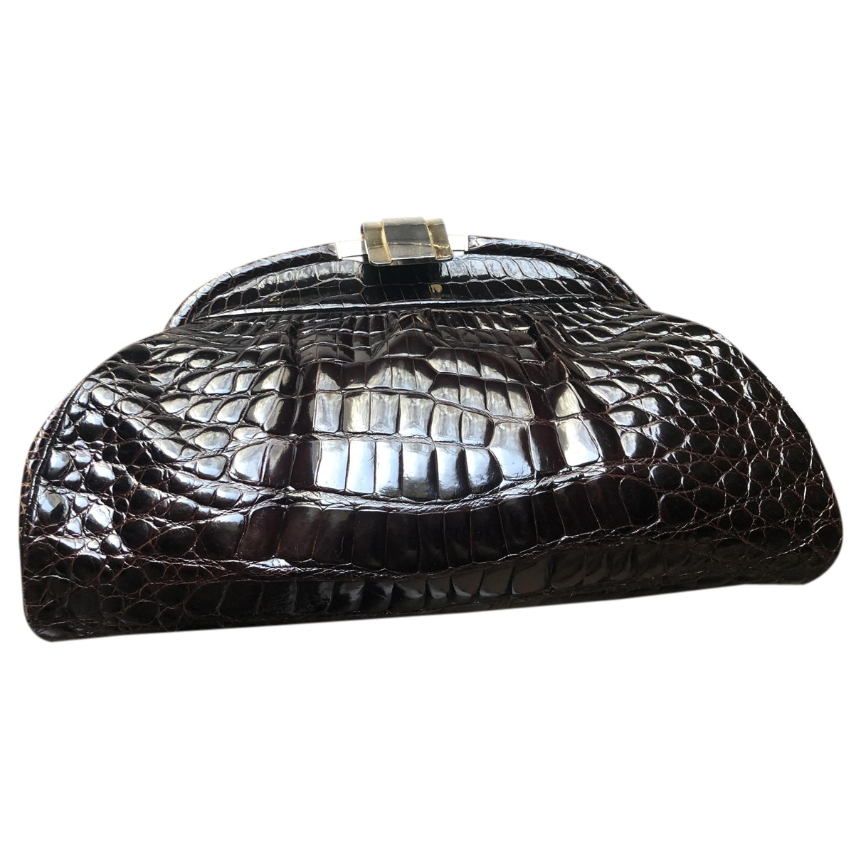Non Signé / Unsigned N Brown Crocodile Clutch bag for Women N