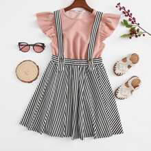 Girls Ruffle Armhole Top & Striped Pinafore Skirt Set