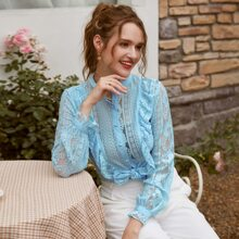Button Front Ruffle Trim Lace Top