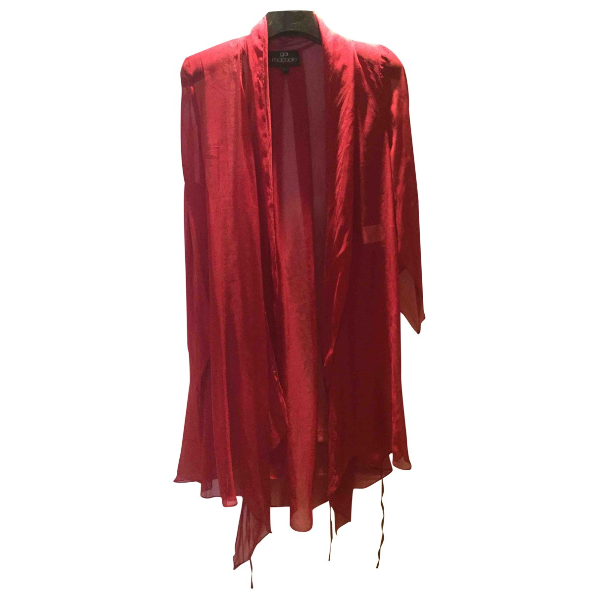 Non Signé / Unsigned Oversize Red Silk  top for Women 46 IT