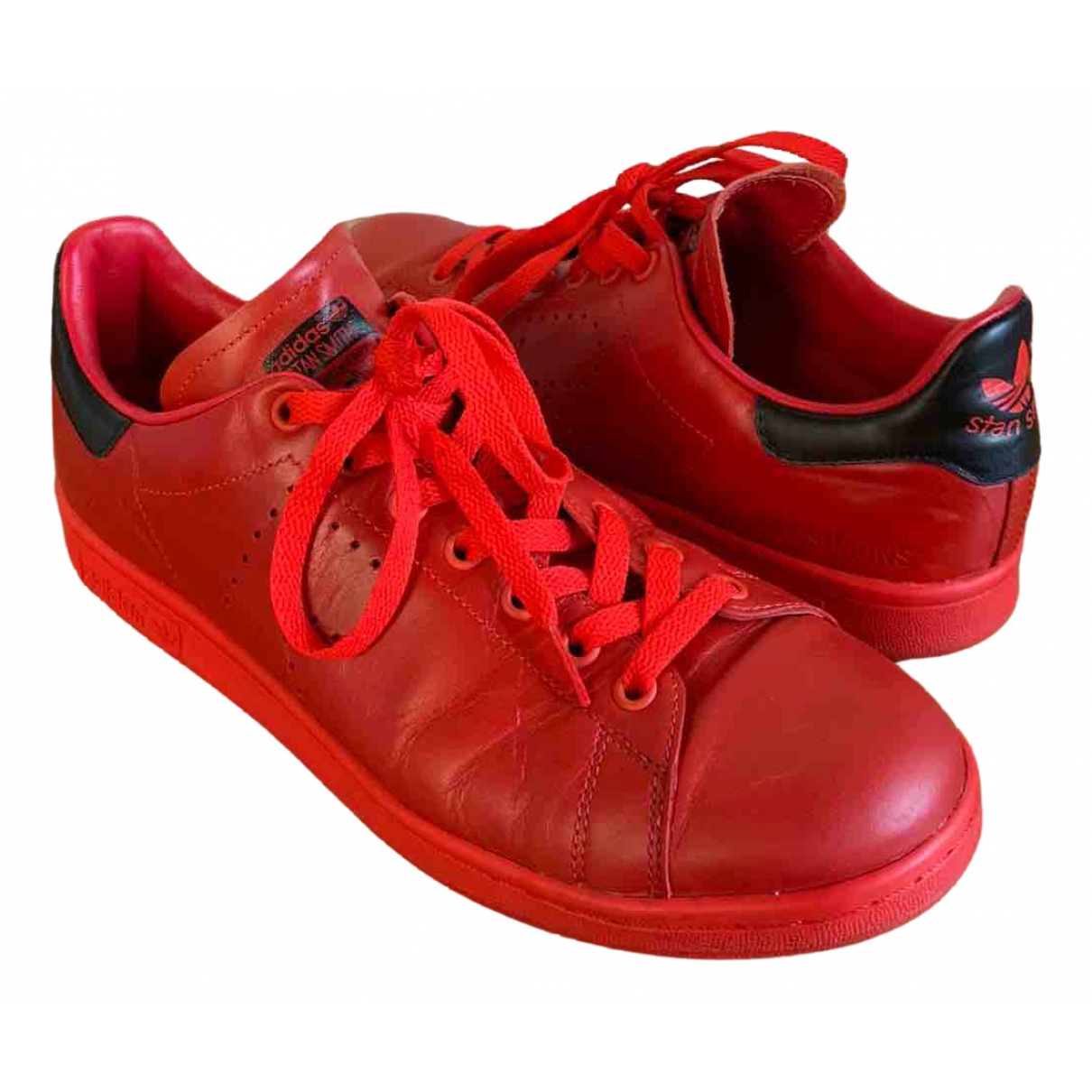 Adidas X Raf Simons Stan Smith Red Leather Trainers for Men 10.5 US