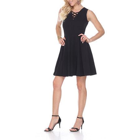 White Mark Shay Sleeveless Fit & Flare Dress, Medium , Black