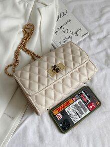 Twist Lock Quilted Flap Crossbody Bag
