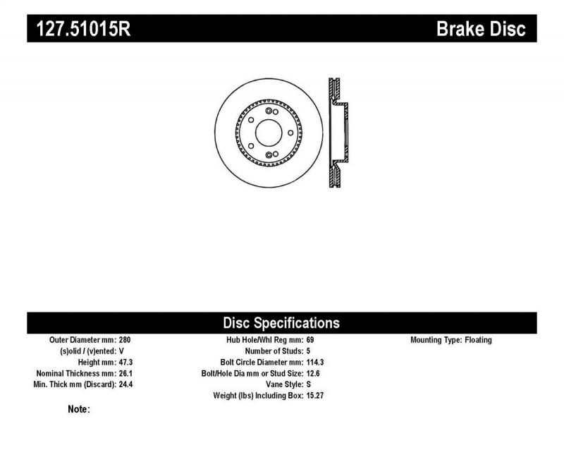 StopTech 127.51015R Sport Drilled/Slotted Brake Rotor; Front Right Front Right