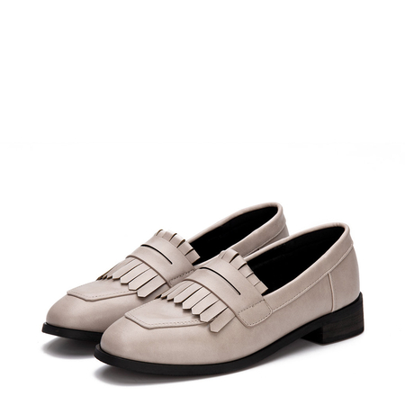 Yoins Apricot Leather Look Fringed Toe Chunky Heel Slip-on Loafers