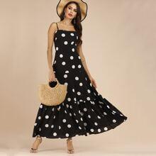 Cami Kleid mit Punkten Muster und Ruesche