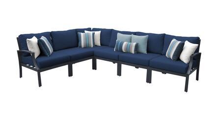 Lexington LEXINGTON-06v-NAVY 6-Piece Aluminum Patio Set 06v with 1 Right Arm Chair  1 Left Arm Chair  1 Corner Chair and 3 Armless Chairs - Ash and