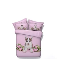 Husky Dog and Roses Printed 4-Piece Pink 3D Bedding Sets/Duvet Covers