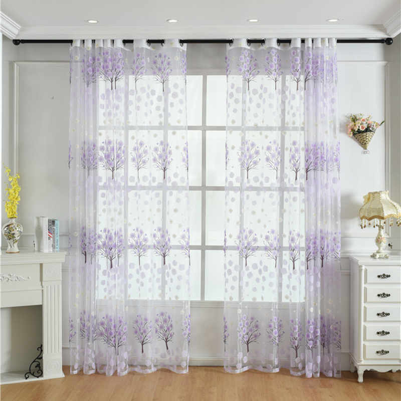 Pastoral Style Floral Custom Living Room Sheer Curtains Breathable Voile Drapes Never Fading Cracking Peeling or Flaking