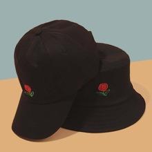 Rose Embroidery Bucket Hat & Baseball Cap
