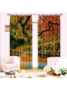 Wonderful Red Leaves and Water Printed Light Blocking Custom 3D Curtain