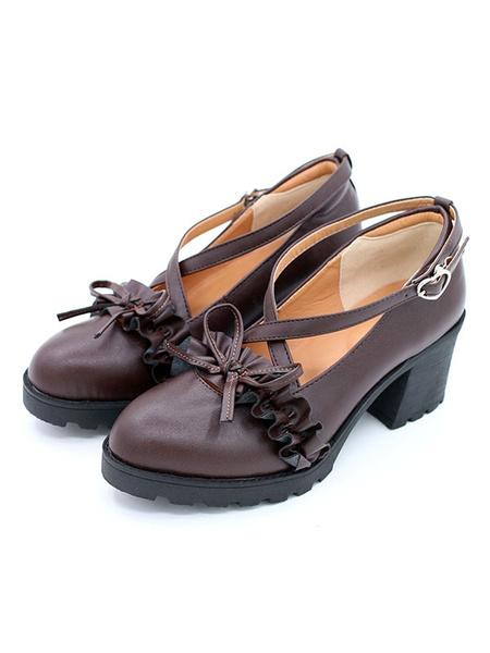Milanoo Zapatos de lolita clasicos 2020 Zapatos de Lolita con tacon grueso y tiras con volantes en el arco