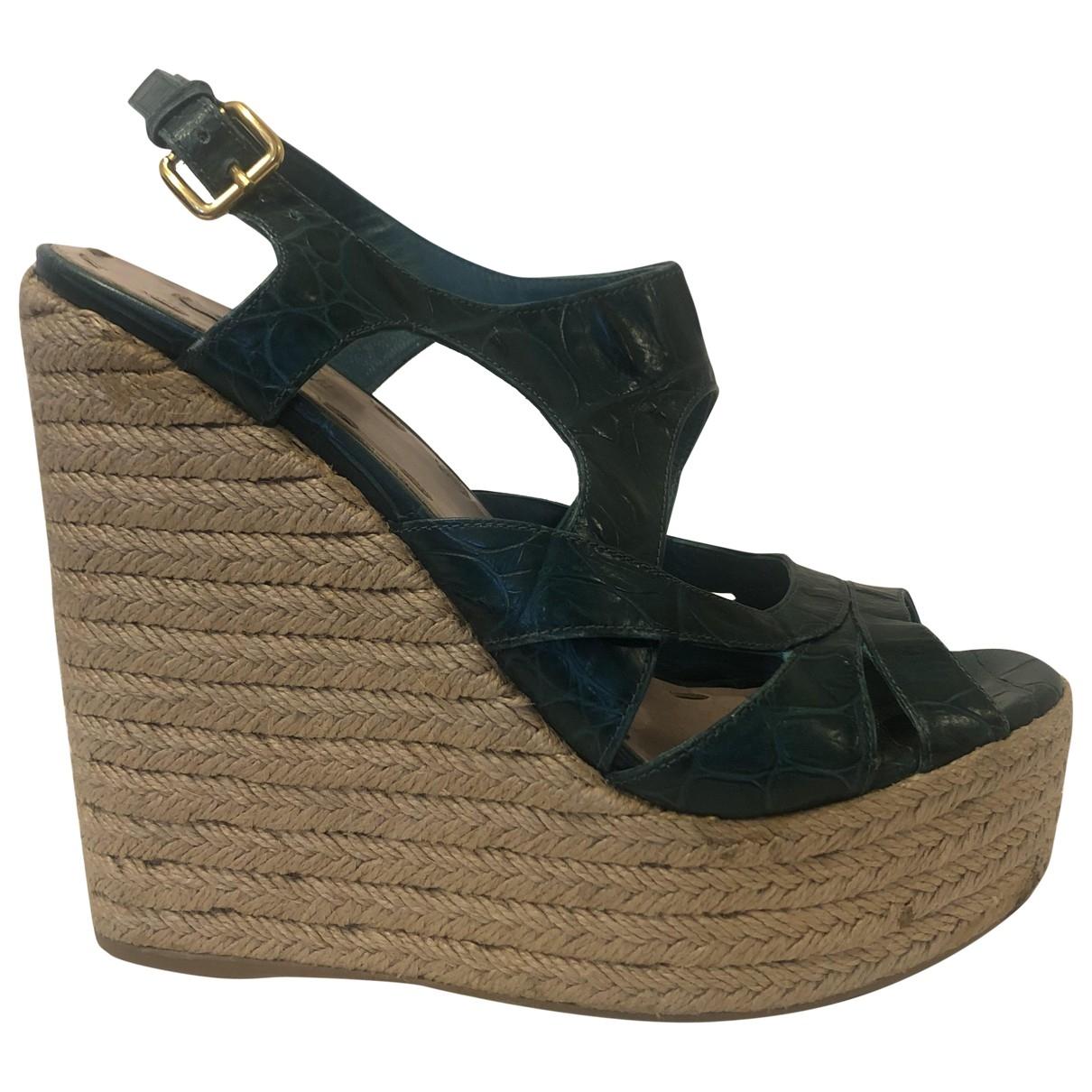 Miu Miu \N Green Leather Sandals for Women 39 EU