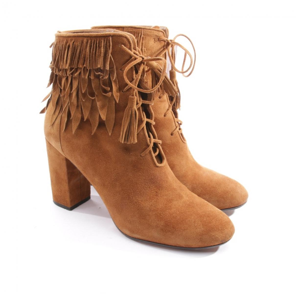 Aquazzura - Boots   pour femme en suede - marron