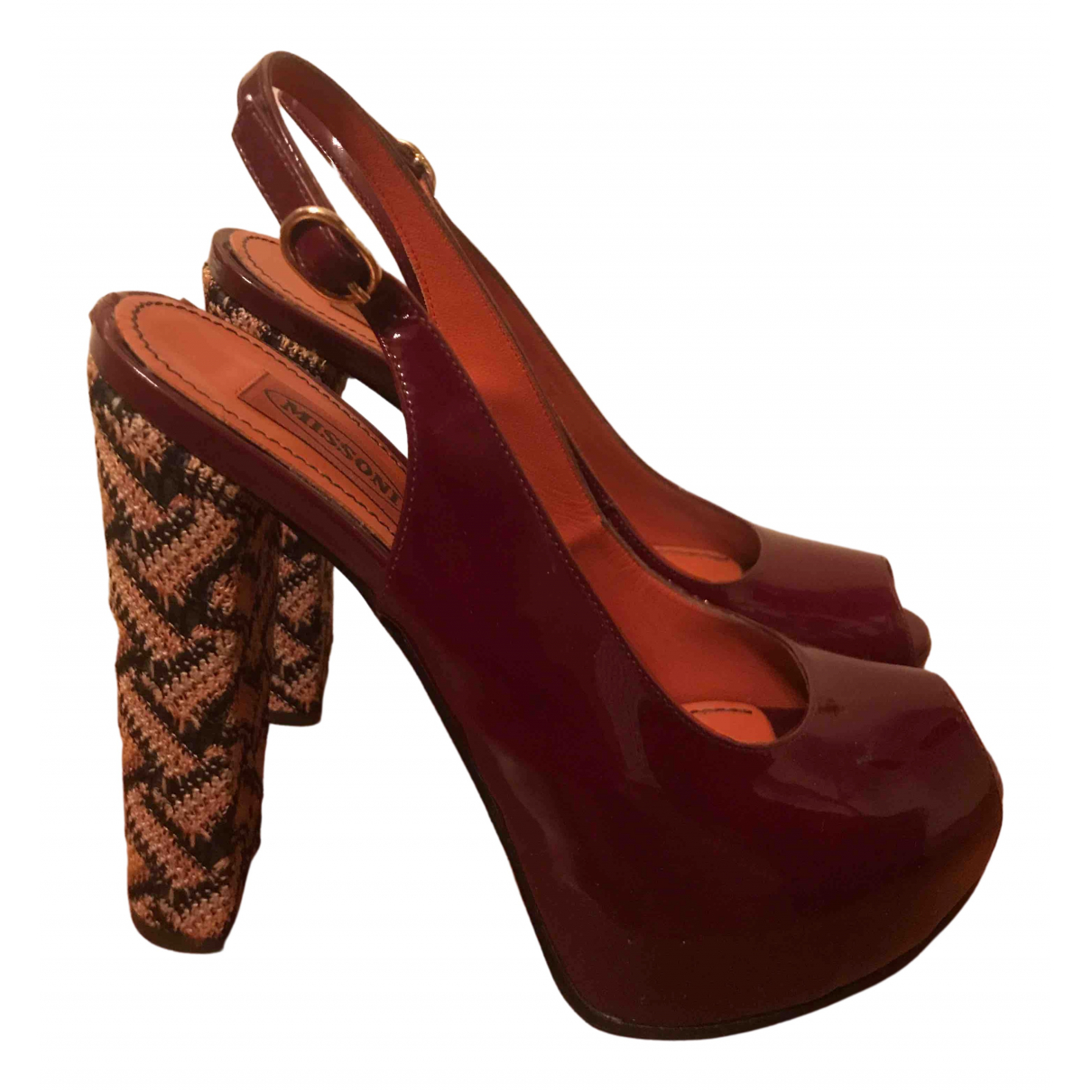 Missoni \N Burgundy Patent leather Sandals for Women 38 EU
