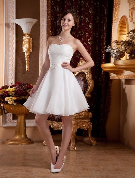 Milanoo Vestido para homecoming de organdi blanco con escote de corazon de estilo moderno