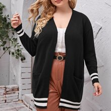 Plus Striped Print Open Front Cardigan