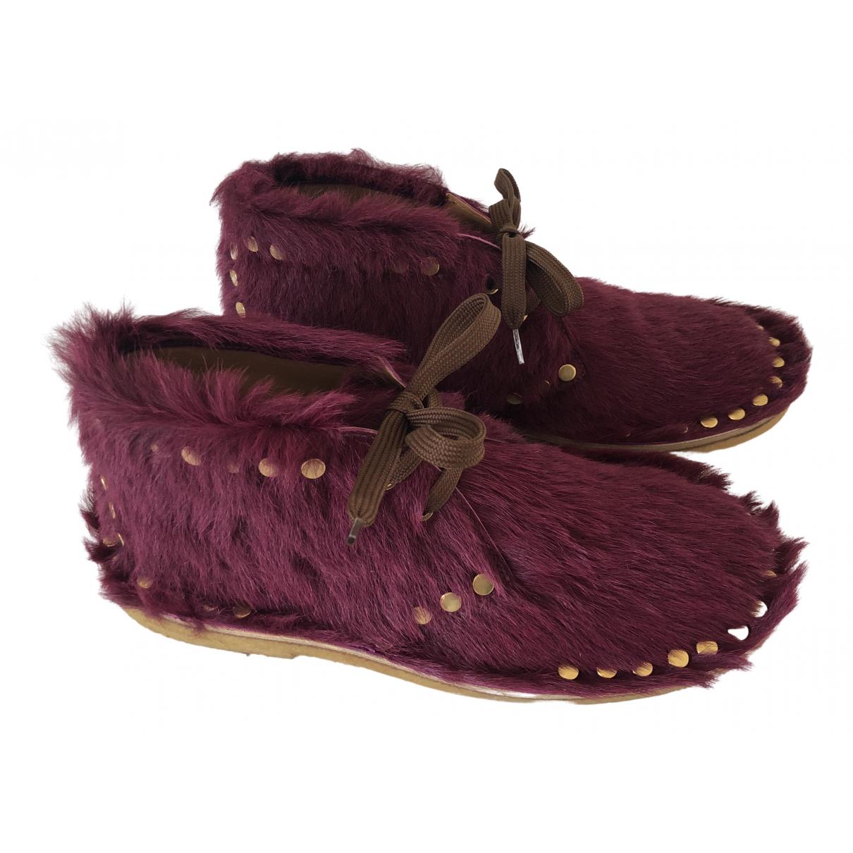 Prada - Boots   pour femme en veau facon poulain - bordeaux