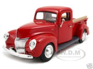 1940 Ford Pickup Truck Red 1/24 Diecast Model Car by Motormax