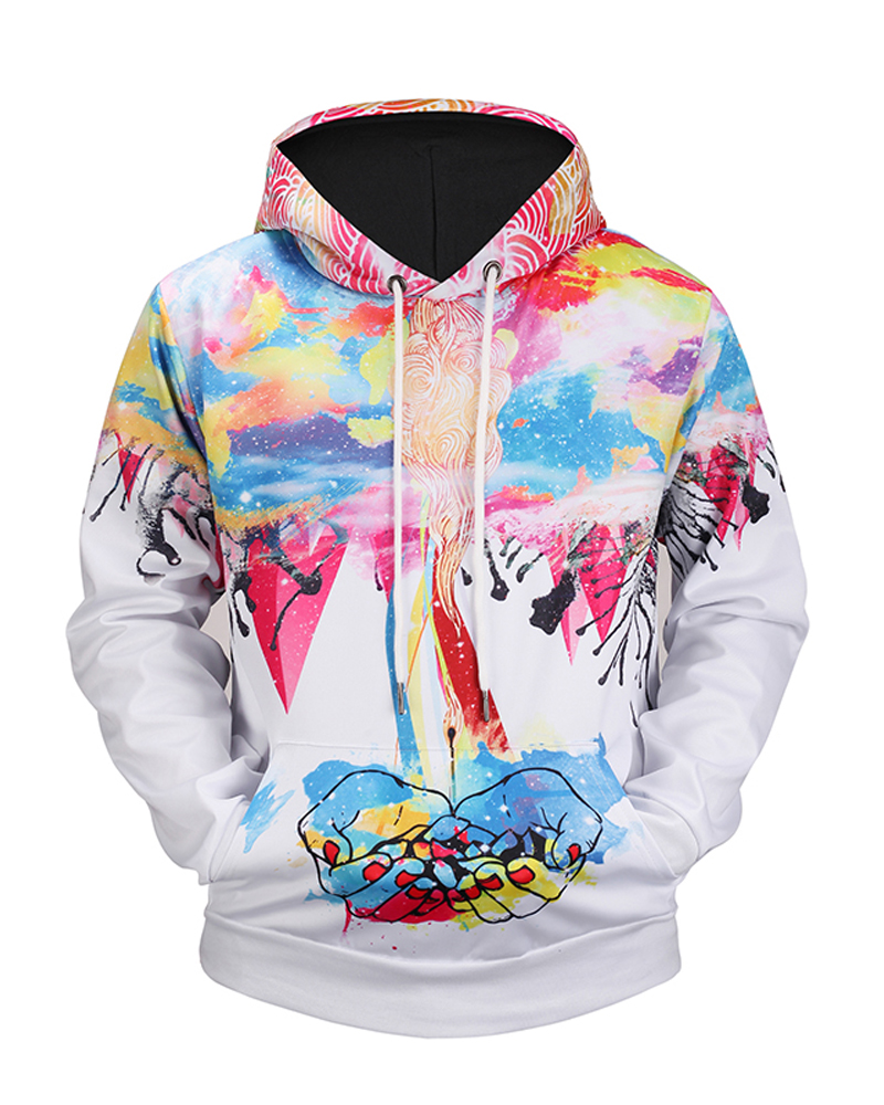 Loose Model Polyester Casual Style Pullover 3D Painted Hoodie