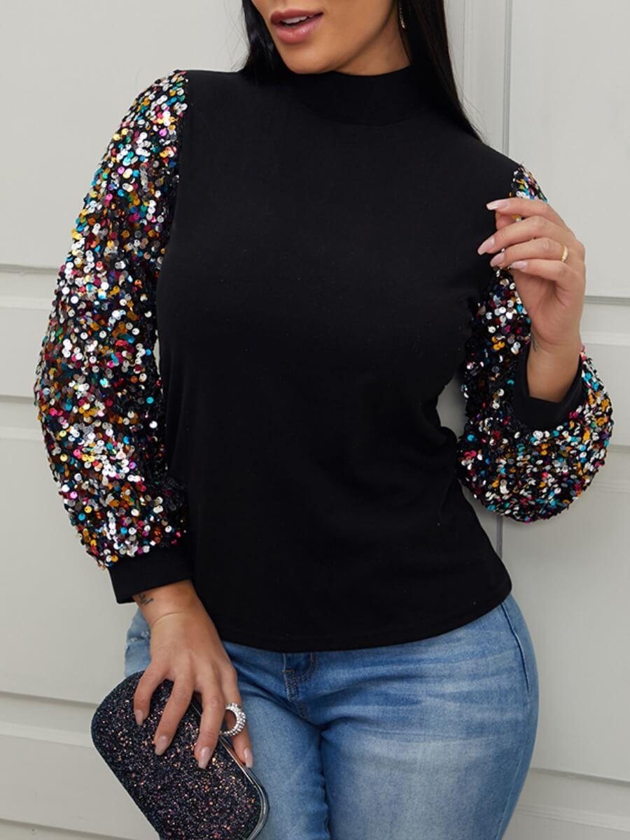 LW Lovely Turtleneck Patchwork Black Sweatshirt