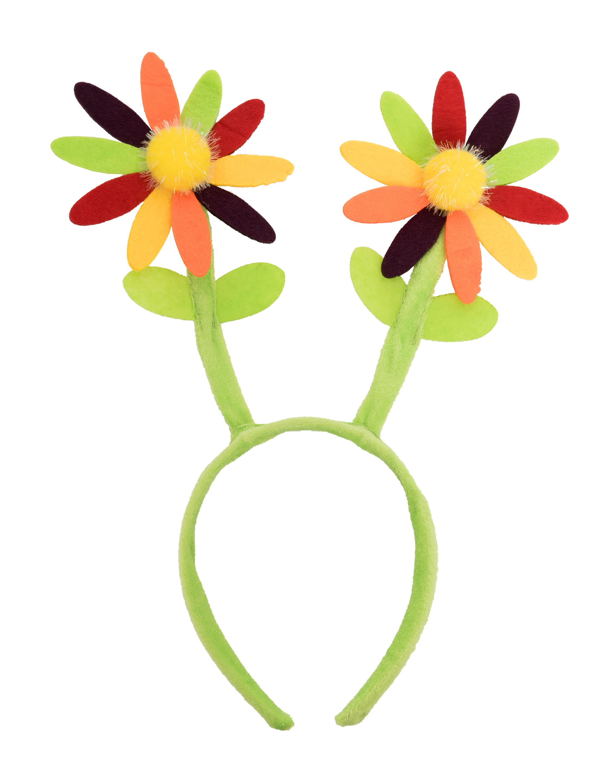 Kostuemzubehor Haarreif mit zwei bunten Blumen Farbe: multicolor bzw. bunt