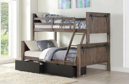 9218-TFBS_505-BK Twin/Full Bunk Bed in Brushed Shadow Finish With Dual Underbed Drawers In Low Sheen Black