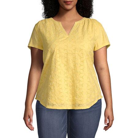 St. John's Bay Plus-Womens Split Crew Neck Short Sleeve T-Shirt, 0x , Yellow