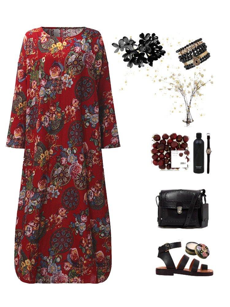 Vintage Women Long Sleeve Floral Printed Loose Long Maxi Dresses