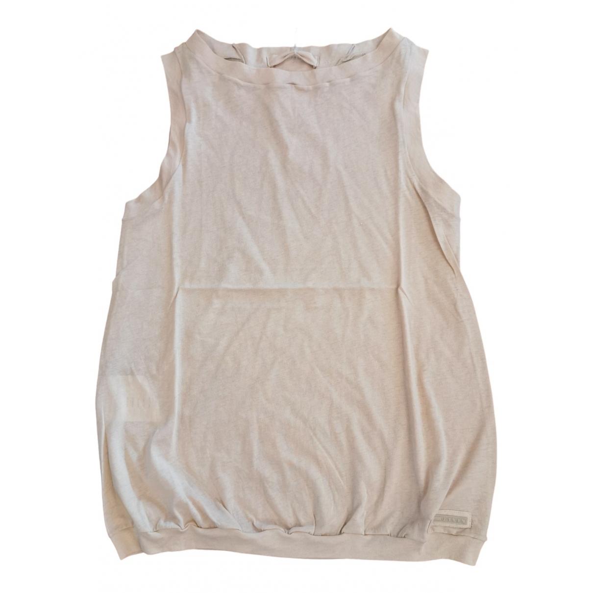 Prada - Top   pour femme en coton - beige