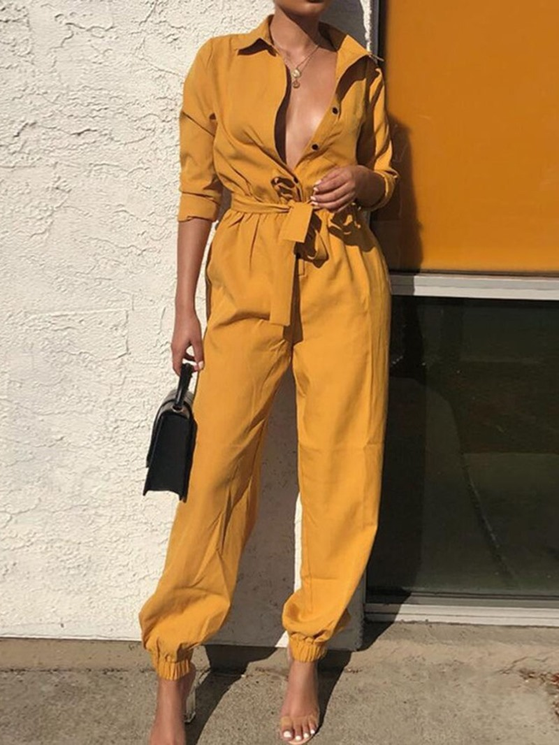 Ericdress Full Length Lace-Up Button Plain Slim Jumpsuit