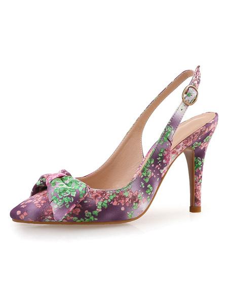 Milanoo Women\s Slingbacks Purple Low-Tops Printed Stiletto Heels