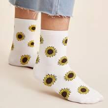 1pair Sunflower Pattern Socks