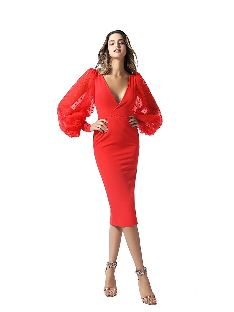 Ericdress Long Sleeves V-Neck Sheath Red Cocktail Dress 2020