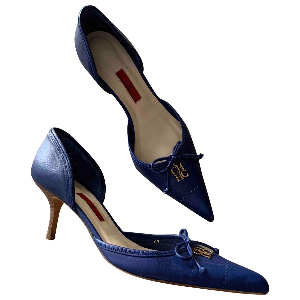 Carolina Herrera - Escarpins   pour femme en cuir - bleu