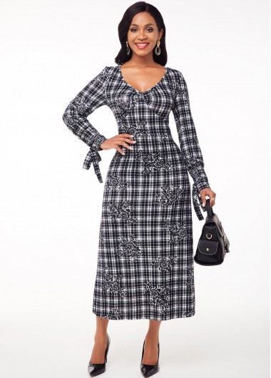 Wedding Guest Dress Long Sleeve Plaid and Floral Print Tie Sleeve Dress - S