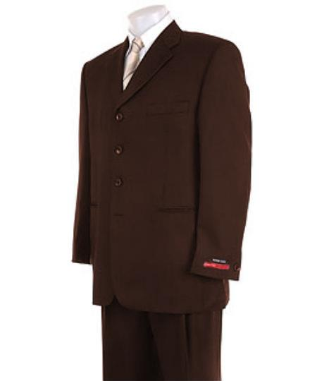Mens Solid Dark Brown 4 Buttons SuperPleated Pants  Online