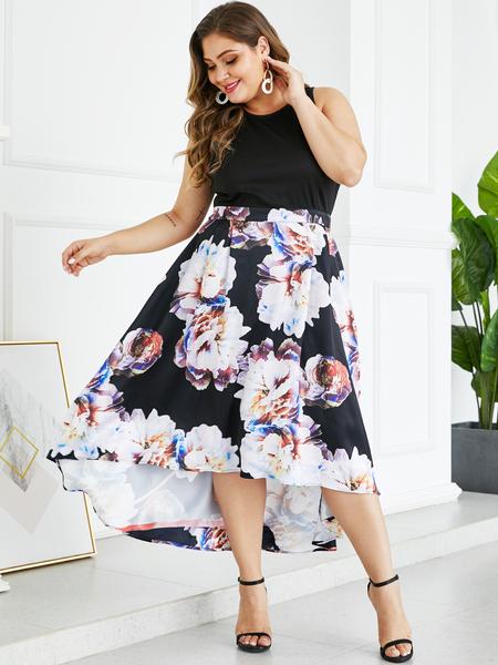 YOINS Plus Size Black Patch Random Floral Print Dress