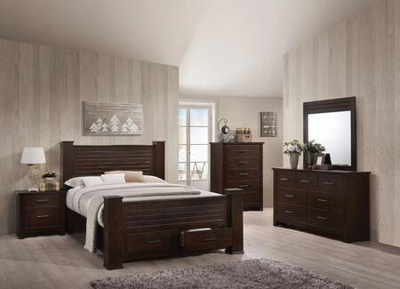 Panang Collection 23367EKSET 5 PC Bedroom Set with King Size Bed + Dresser + Mirror + Chest + Nightstand in Mahogany