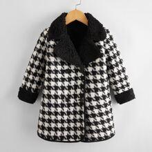 Toddler Girls Houndstooth Teddy Lined Tweed Coat