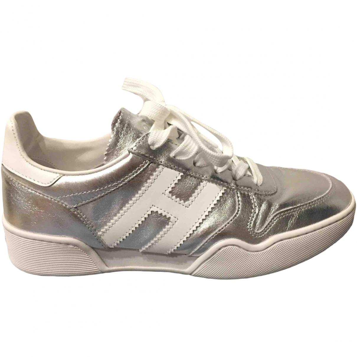 Hogan \N Silver Leather Trainers for Women 35.5 EU