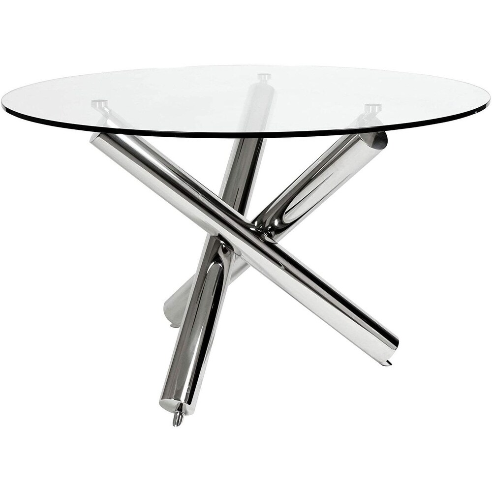 Mikaz Round 43 Glass Table with chromed legs (White)