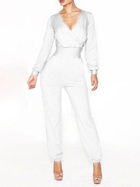 Milanoo White Jumpsuit V Neck Long Sleeve Stretch Jumpsuit