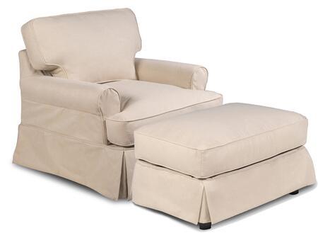 SU-117620-30-391084 Horizon Slipcovered T-Cushion Chair with Ottoman  Performance Fabric