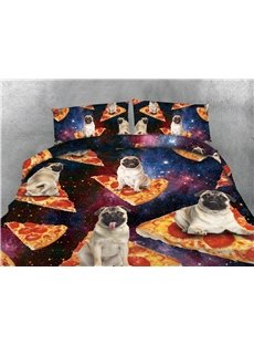 Bulldog and Pizza Galaxy Printing 4-Piece 3D Bedding Sets/Duvet Covers
