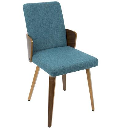 CH-CRML WL+TL2 Carmella Mid-Century Modern Dining Chair in Walnut and Teal Fabric - Set of