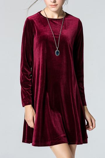 Yoins Burgundy Crew Collar Swing Dress